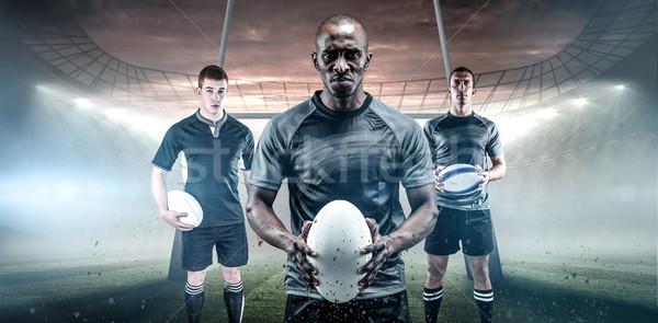 Afbeelding ernstig rugby speler zwarte Stockfoto © wavebreak_media