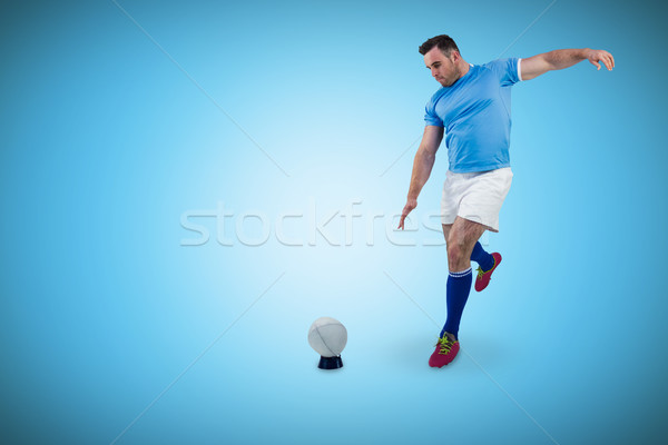 Composite image of rugby player ready to kick Stock photo © wavebreak_media