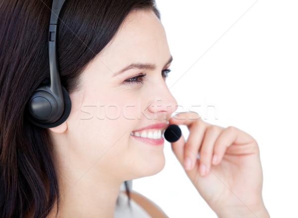 Feliz empresária fone falar cliente Foto stock © wavebreak_media
