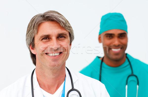 Portret dwa charyzmatyczny lekarzy szczęśliwy medycznych Zdjęcia stock © wavebreak_media