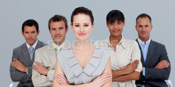 Stock photo: Confident multi-ethnic business team with folded arms