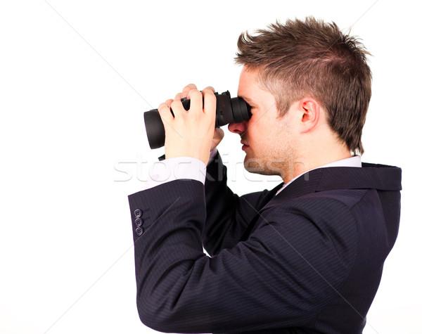 Człowiek patrząc lornetki kopia przestrzeń strony świetle Zdjęcia stock © wavebreak_media