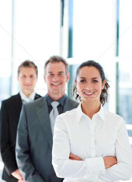 улыбаясь деловая женщина сложенный оружия линия копия пространства Сток-фото © wavebreak_media