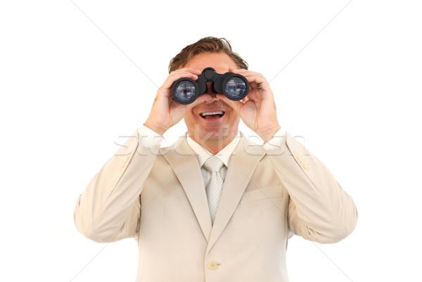 Lächelnd Geschäftsmann schauen Fernglas reifen Kamera Stock foto © wavebreak_media