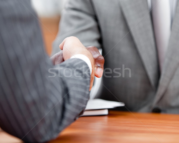 El sıkışma iki işadamları ofis el Stok fotoğraf © wavebreak_media