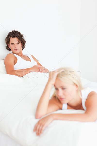 Portrait of an upset couple after an argument in their bedroom Stock photo © wavebreak_media