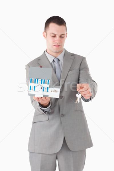 Stock foto: Porträt · Geschäftsmann · Miniatur · Haus · Schlüssel