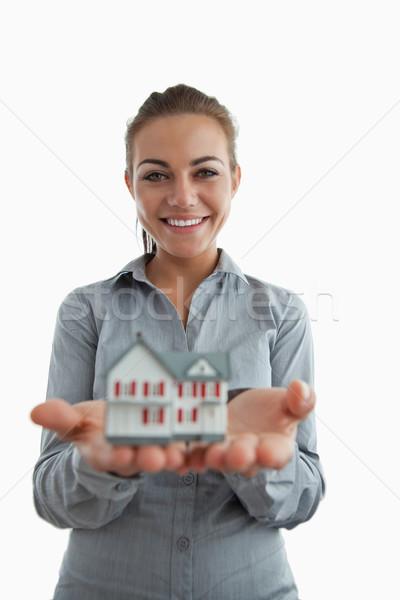 Genç kadın minyatür ev Stok fotoğraf © wavebreak_media