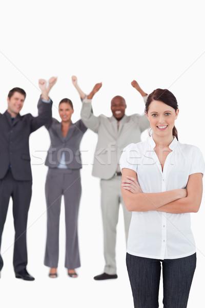 Sorridere imprenditrice dietro bianco Foto d'archivio © wavebreak_media