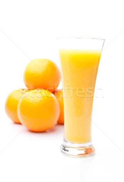 Stockfoto: Hoop · sinaasappelen · achter · glas · sinaasappelsap · witte