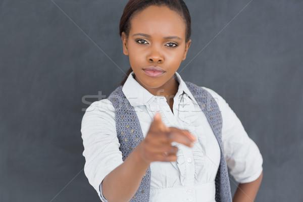 Ernstig zwarte leraar wijzend klas school Stockfoto © wavebreak_media