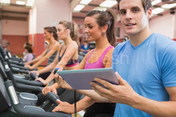 Сток-фото: мужчины · спортзал · инструктор · женщины · женщину · спорт