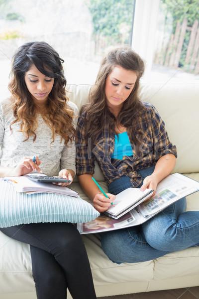 Dwa znajomych posiedzenia kanapie praca domowa Kalkulator Zdjęcia stock © wavebreak_media