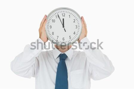 üzletember tart számlap fehér idő póló Stock fotó © wavebreak_media