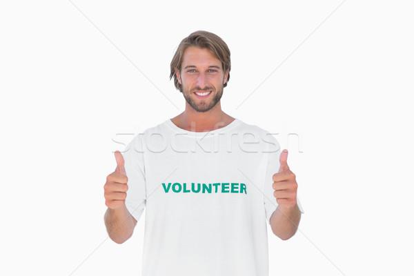Gelukkig man vrijwilliger tshirt Stockfoto © wavebreak_media