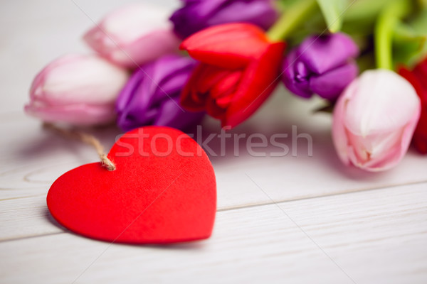Bunch of tulips and heart card Stock photo © wavebreak_media