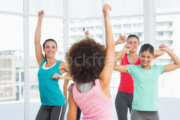 Derűs fitnessz osztály oktató pilates testmozgás Stock fotó © wavebreak_media