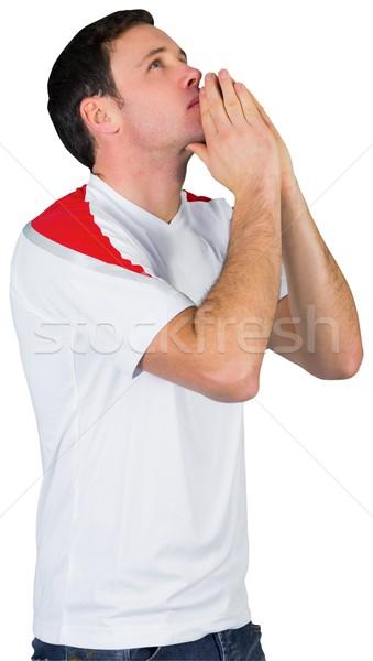 Nerwowy piłka nożna fan biały człowiek piłka nożna Zdjęcia stock © wavebreak_media