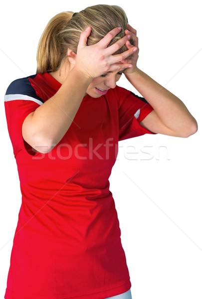 Decepcionado fútbol ventilador rojo blanco fútbol Foto stock © wavebreak_media