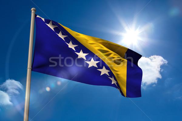 Bandera asta de bandera cielo azul sol luz digital Foto stock © wavebreak_media