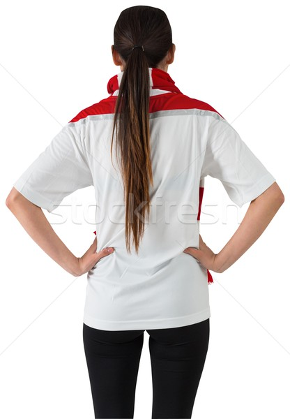Football fan in white with hands on hips Stock photo © wavebreak_media