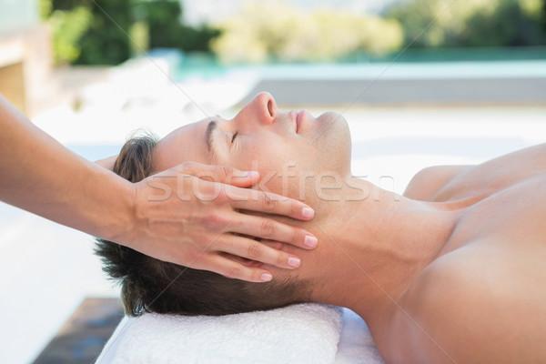 Friedlich Mann Kopf Massage außerhalb spa Stock foto © wavebreak_media