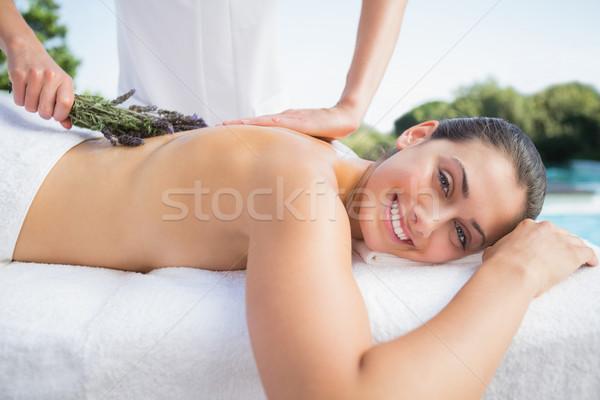 Sorridere bruna aromaterapia trattamento fuori spa Foto d'archivio © wavebreak_media