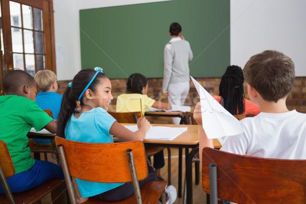 Huncut papírrepülő osztály általános iskola lány iskola Stock fotó © wavebreak_media