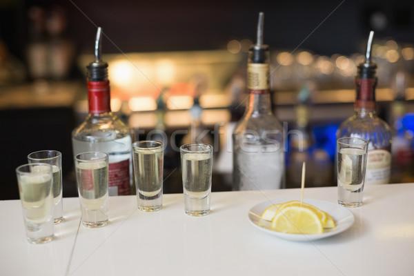 Tequila citrom szeletek bár buli üveg Stock fotó © wavebreak_media