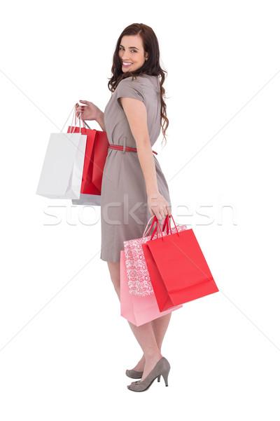 Elegante cabelo castanho posando branco feminino Foto stock © wavebreak_media