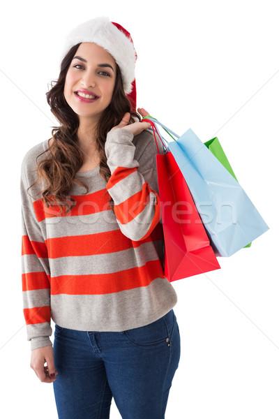 Szépség barna hajú pózol bevásárlótáskák fehér boldog Stock fotó © wavebreak_media