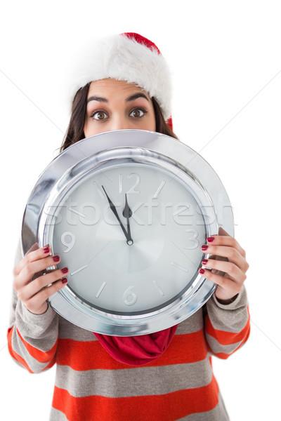 Brunetka zegar biały piękna Zdjęcia stock © wavebreak_media