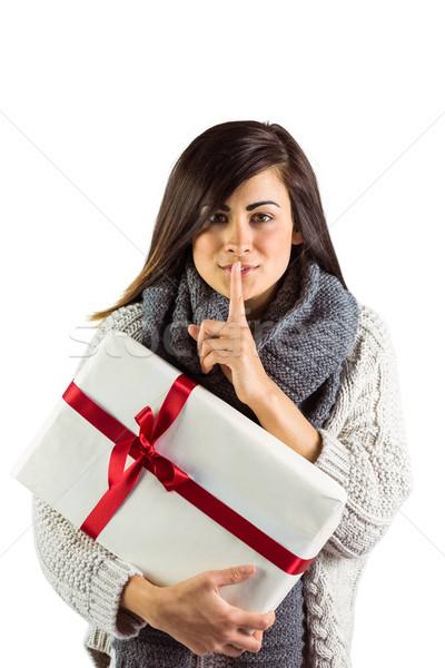 Foto stock: Morena · regalo · secreto · blanco · belleza