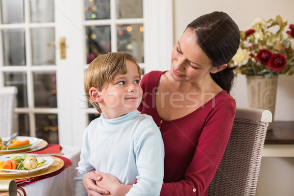 Smiling mother with her son sitting on lap Stock photo © wavebreak_media