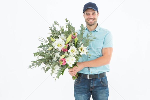 Heureux bouquet portrait blanche Photo stock © wavebreak_media