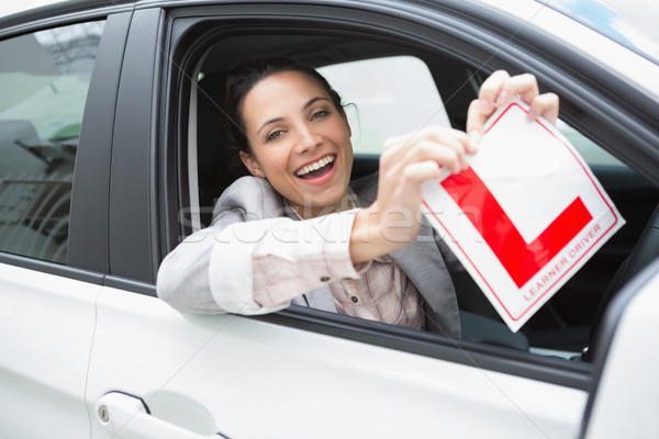 Smiling female driver tearing up her L sign Stock photo © wavebreak_media