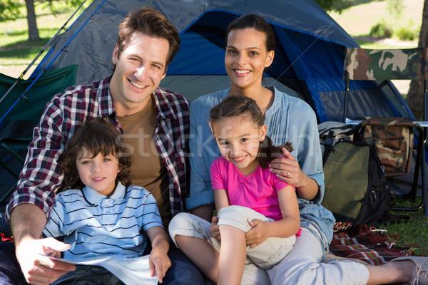 Szczęśliwą rodzinę kemping podróży namiot kobieta Zdjęcia stock © wavebreak_media