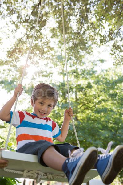 Happy little boy on a swing in the park Stock photo © wavebreak_media