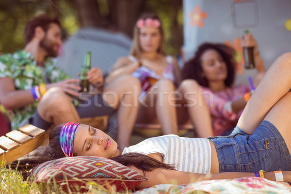 Happy hipsters relaxing on the campsite Stock photo © wavebreak_media