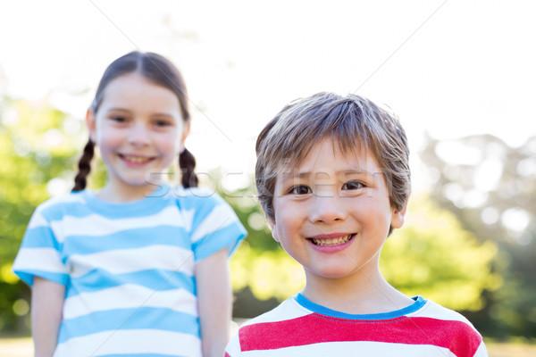 Boldog testvérek mosolyog kamera napos idő természet Stock fotó © wavebreak_media