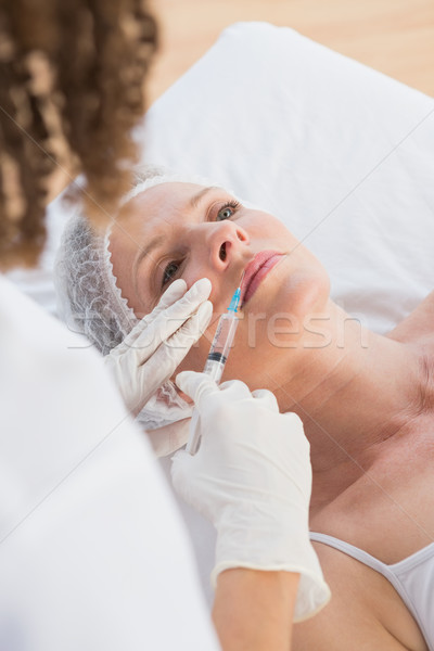 Mulher injeção de botox lábios médico escritório médico Foto stock © wavebreak_media