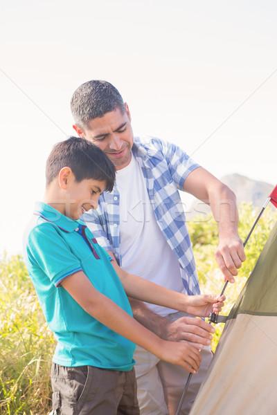 Apa fia sátor napos idő férfi boldog természet Stock fotó © wavebreak_media