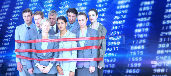 Composite image of upset business team fastened with adhesive ta Stock photo © wavebreak_media