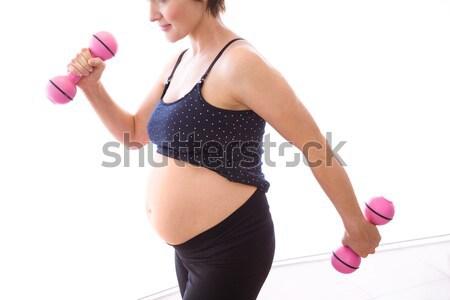 Terhes nő forma otthon ház boldog egészség Stock fotó © wavebreak_media