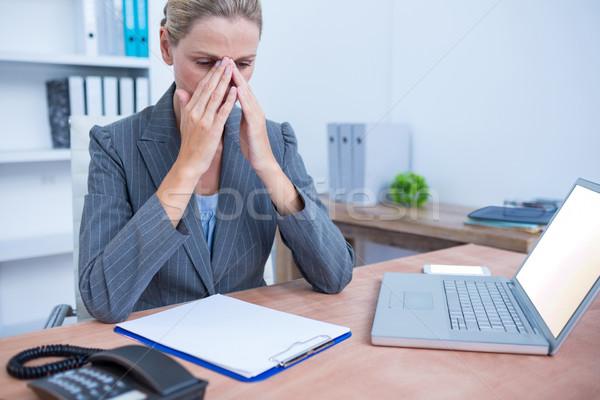 Dość kobieta interesu notatnika biuro komputera Zdjęcia stock © wavebreak_media