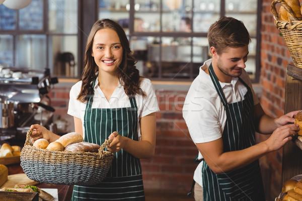 Boldog munkatársak dolgozik mosoly portré kávéház Stock fotó © wavebreak_media