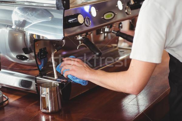 Бариста очистки кофейня бизнеса человека Сток-фото © wavebreak_media