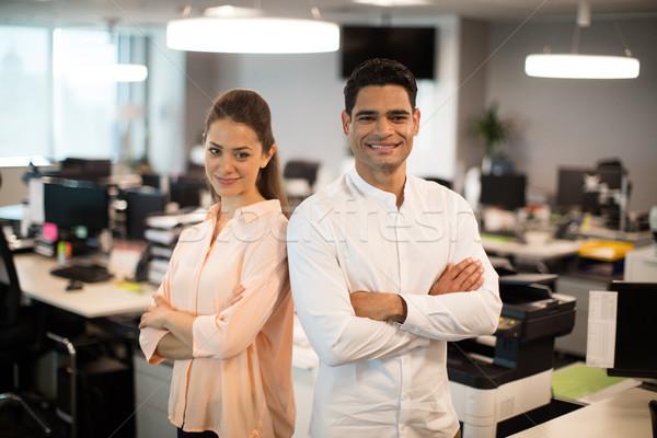 улыбаясь деловые люди Постоянный служба портрет ноутбука Сток-фото © wavebreak_media