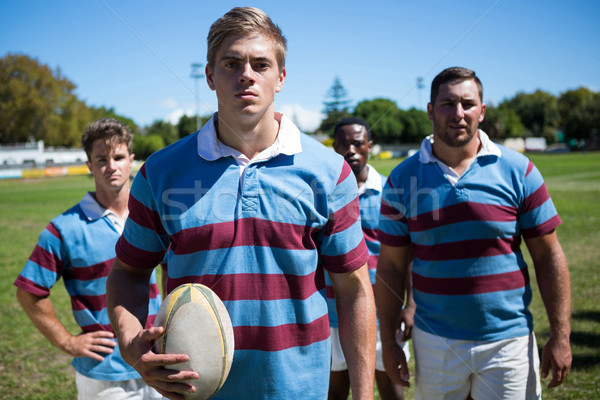 Portrait of confident players with rugby ball Stock photo © wavebreak_media