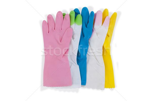 Colorido luvas de borracha branco fitness limpeza Foto stock © wavebreak_media